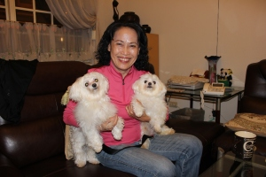 My aunt Xiao-Bin with her two babies